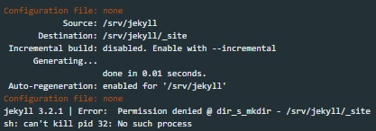 Error: Permission denied @ dir_s_mkdir - /srv/jekyll/_site